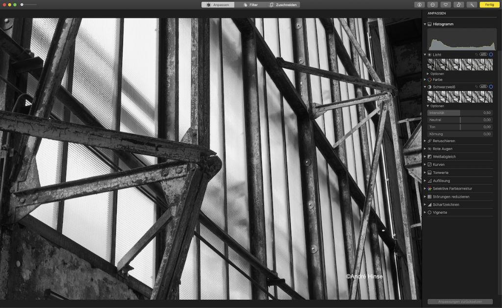 Schwarz-Weiß-Filter in Apple Fotos
