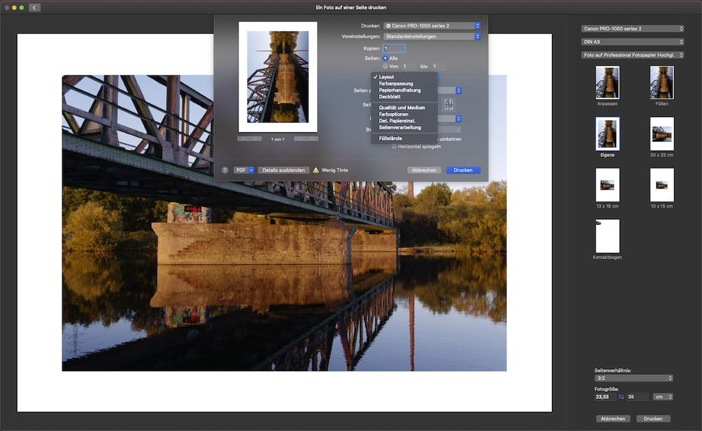 Screenshot der Menüauswahl des Druckertreiber in Apples Fotos