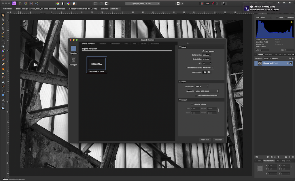 Neue Datei in Affinity Photo anlegen