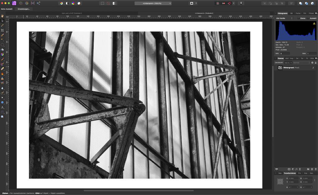 Druckdatei aus Bild und Neuer Datei in Affinity Photo