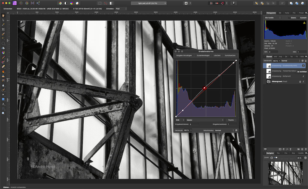 Gradationskurve in Affinity Photo